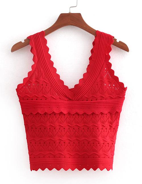 Fashion Red V Neckline Design Hollow Out T-shirt