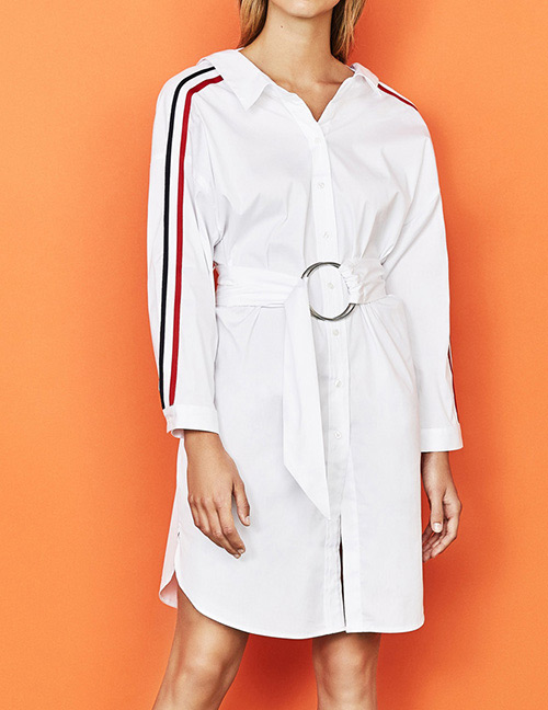 Fashion White Pure Color Design Long Sleeves Dress