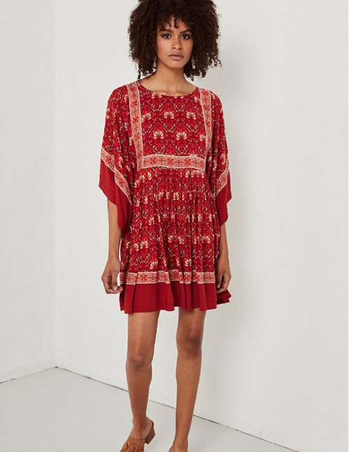 Fashion Red Flowers Decorated Bats Sleeves Dress