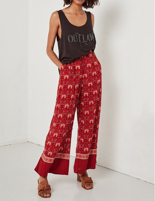Fashion Red Flowers Decorated Wide-legs Pants