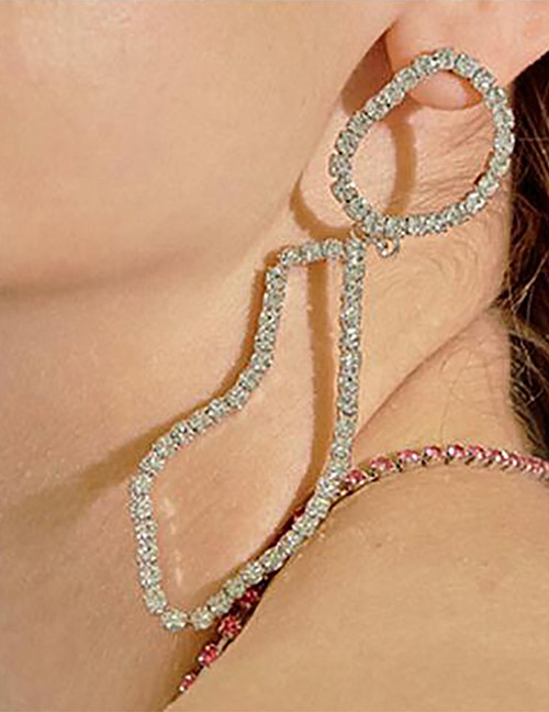 Elegant Silver Color Full Diamond Decorated Pure Color Earrings