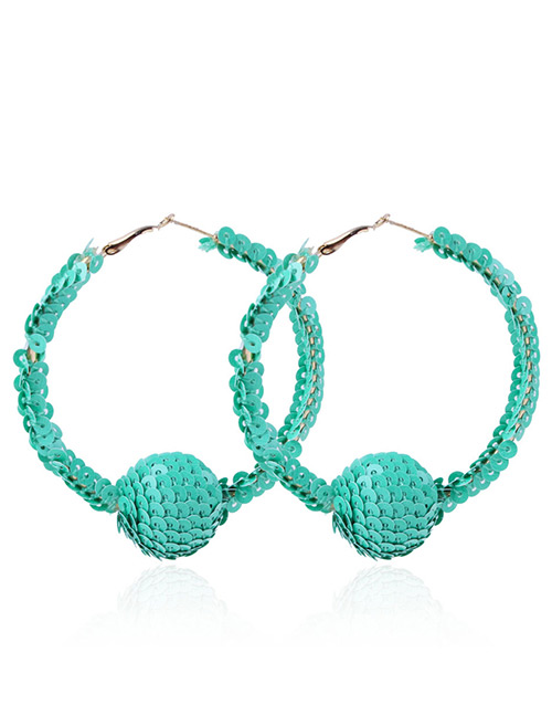 Elegant Green Balls Decorated Circular Ring Earrings