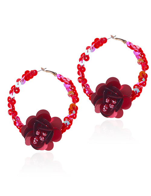 Elegant Red Flowers Decorated Pure Color Earrings