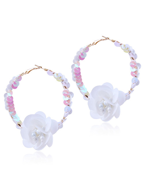 Elegant White Flowers Decorated Pure Color Earrings