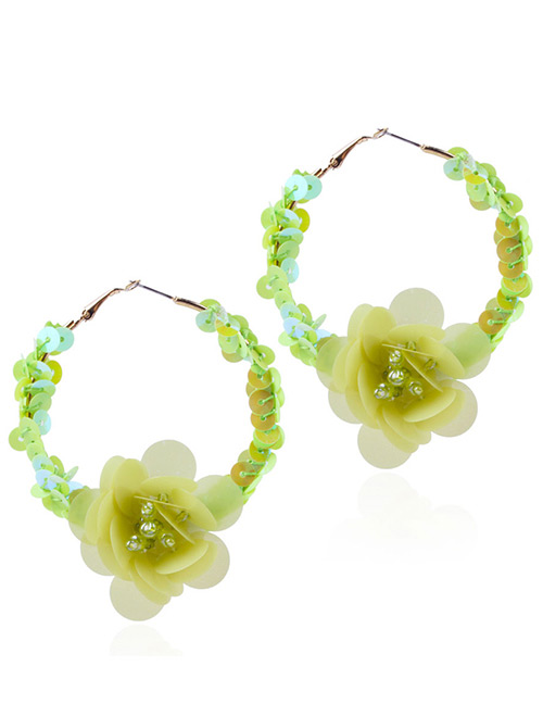 Elegant Yellow Flowers Decorated Pure Color Earrings