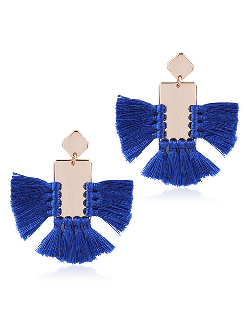 Elegant Sapphire Blue Square Shape Decorated Tassel Earrings