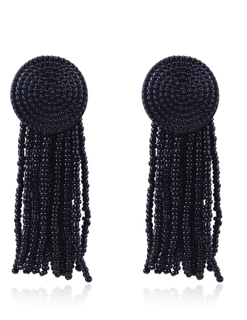 Elegant Black Beads Decorated Pure Color Tassel Earrings