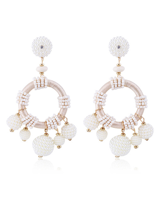 Elegant Beige Beads Decorated Pure Color Earrings