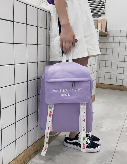 Fashion Purple Embroidered Ribbon Decorated Backpack