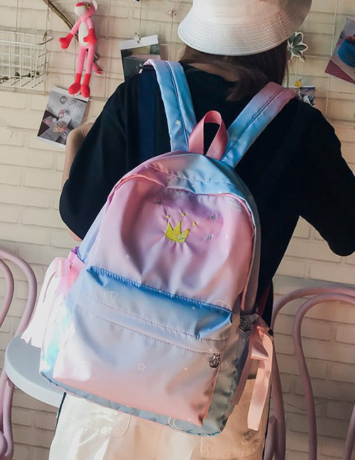 Fashion Pink Embroidered Crown Decorated Backpack