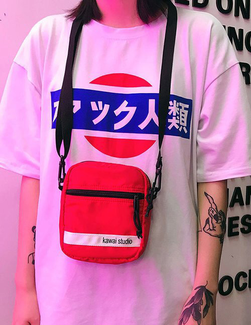 Fashion Red Letter Pattern Decorated Hip-hop Bag