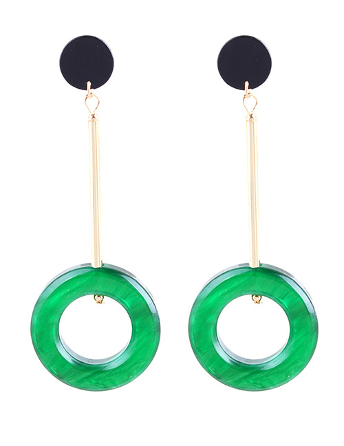 Fashion Green Circular Ring Decorated Long Earrings