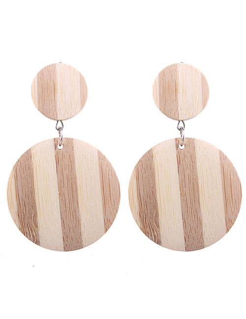 Fashion Light Brown Double Round Shape Decorated Earrings