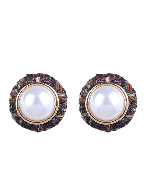 Fashion Multi-color Pearls Decorated Round Shape Earrings