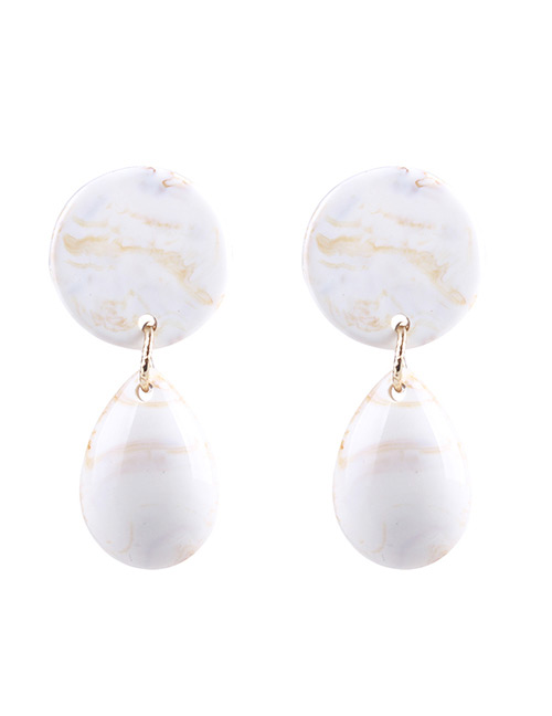 Fashion Beige Pure Color Design Round Shape Earrings