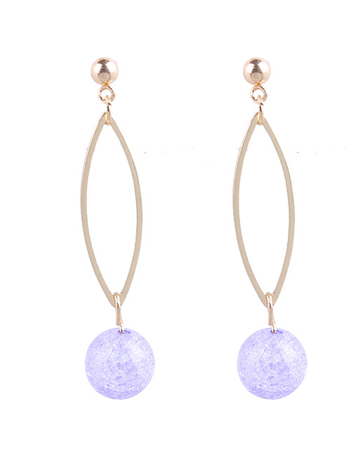 Fashion Purple Pearls Decorated Long Earrings