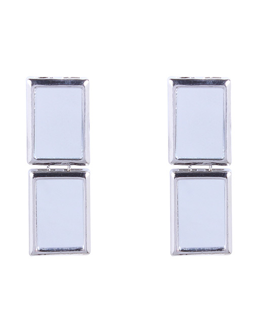 Fashion Silver Color Double Square Shape Design Earrings