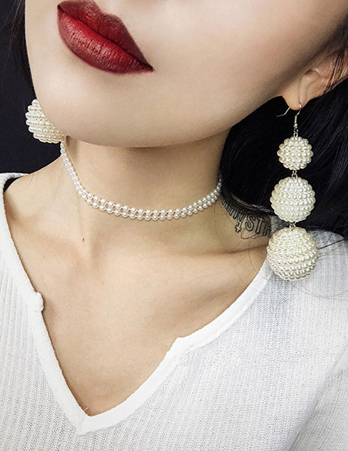 Fashion Beige Balls Decorated Pure Color Earrings