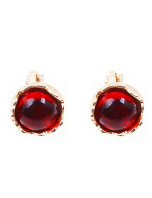 Fashion Red Round Shape Gemstone Decorated Earrings