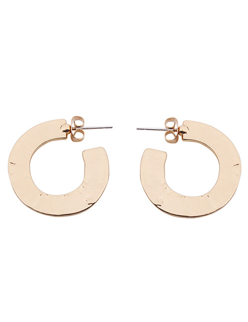Fashion Gold Color C Shape Design Pure Color Earrings