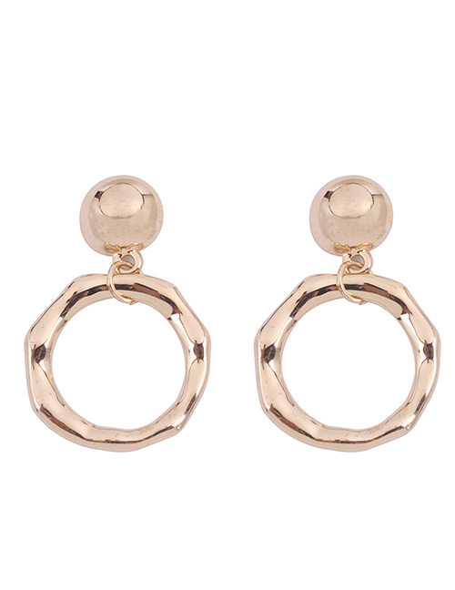 Fashion Gold Color Circular Ring Design Pure Color Earrings