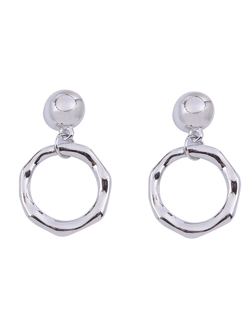 Fashion Silver Color Circular Ring Design Pure Color Earrings
