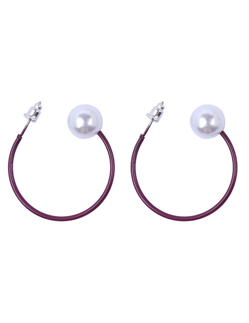 Fashion Claret Red Pearls Decorated C Shape Earrings