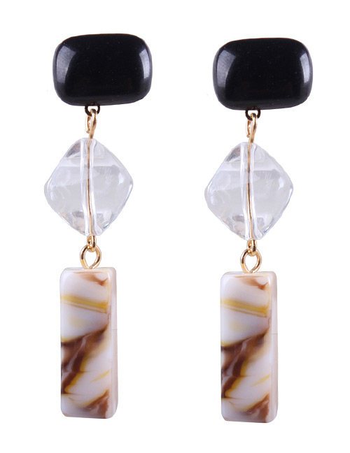 Fashion Brown Geometric Shape Design Long Earrings