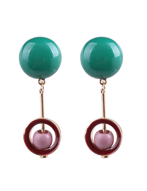 Fashion Green Pearls Decorated Long Earrings