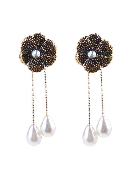 Fashion Black Flowers&pearls Decorated Long Earrings
