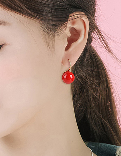 Fashion Red Pearls Decorated Pure Color Earrings