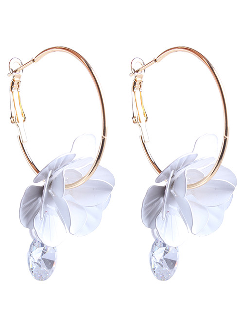 Fashion White Flowers Decorated Simple Earrings