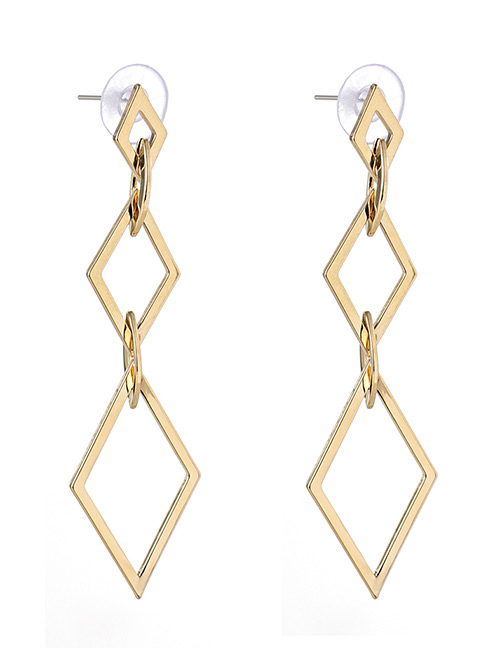 Fashion Gold Color Rhombus Shape Design Long Earrings