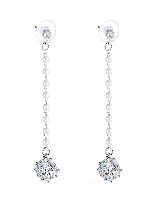 Fashion Silver Color Pesrls&diamond Decorated Long Earrings
