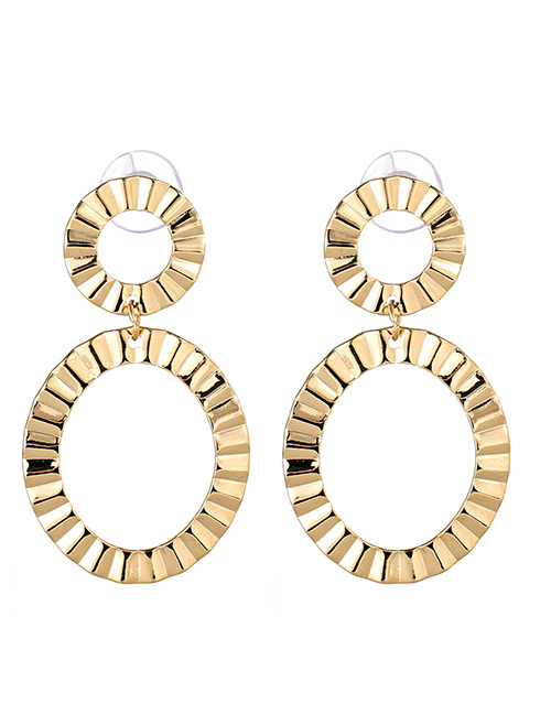 Fashion Gold Color Double Round Shape Decorated Earrings