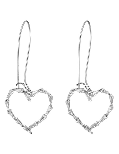 Fashion Silver Color Heart Shape Design Pure Color Earrings