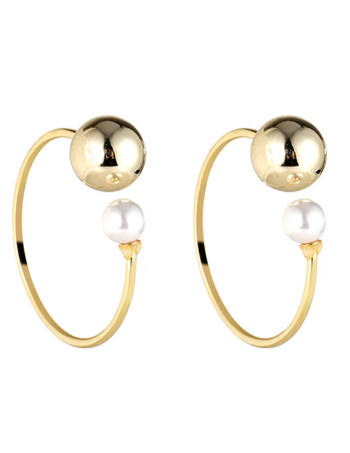 Fashion Gold Color Balls&pearl Decorated C Shape Earrings