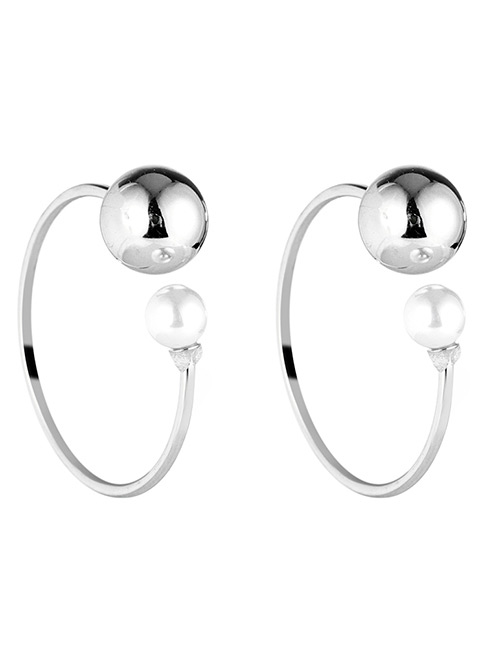 Fashion Silver Color Balls&pearl Decorated C Shape Earrings