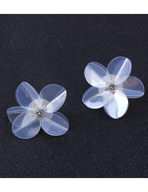 Fashion White Flowers Decorated Pure Color Earrings