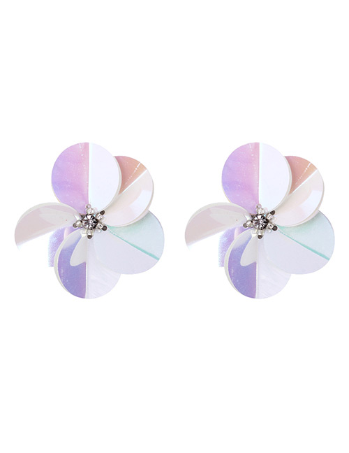 Fashion Multi-color Flowers Decorated Color Mathcing Earrings