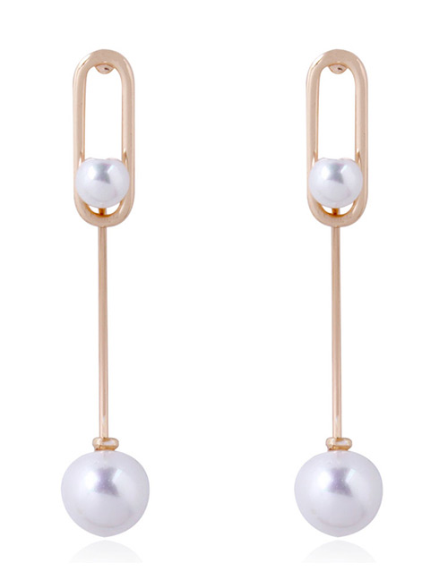 Fashion Gold Color Pearls Decorated Long Earrings