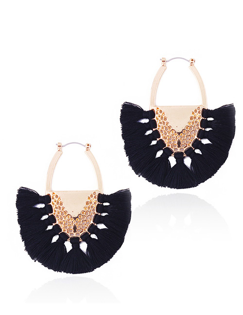 Fashion Black Tassel Decorated Semicircle Shape Earrings