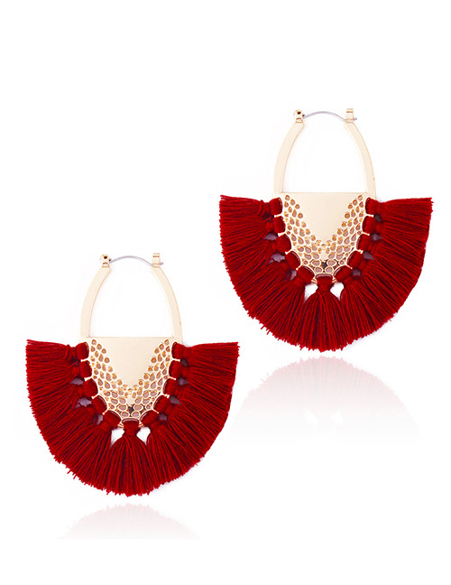 Fashion Claret Red Tassel Decorated Semicircle Shape Earrings