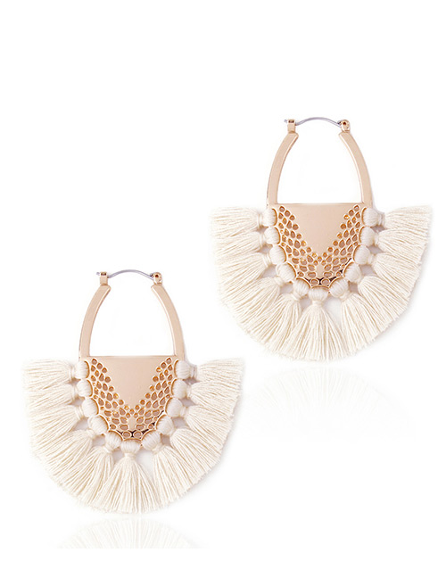Fashion Beige Tassel Decorated Semicircle Shape Earrings