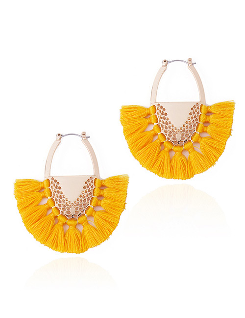 Fashion Yellow Tassel Decorated Semicircle Shape Earrings