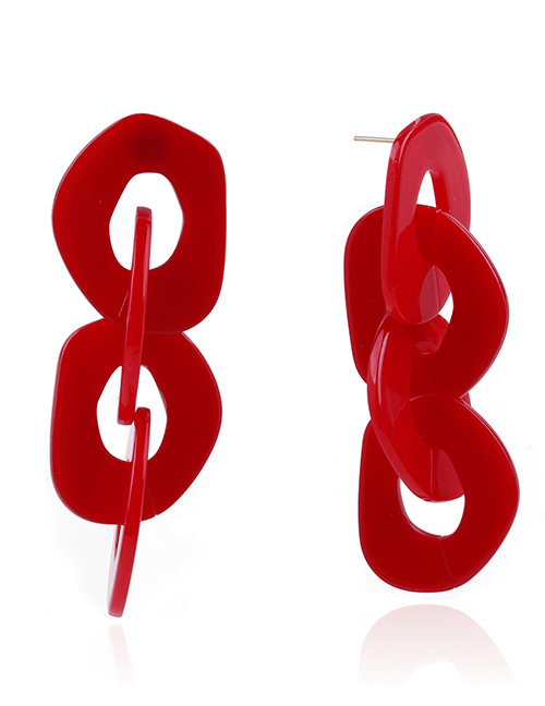 Fashion Red Chains Shape Design Pure Color Earrings