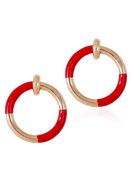 Fashion Red Circular Ring Decorated Simple Earrings
