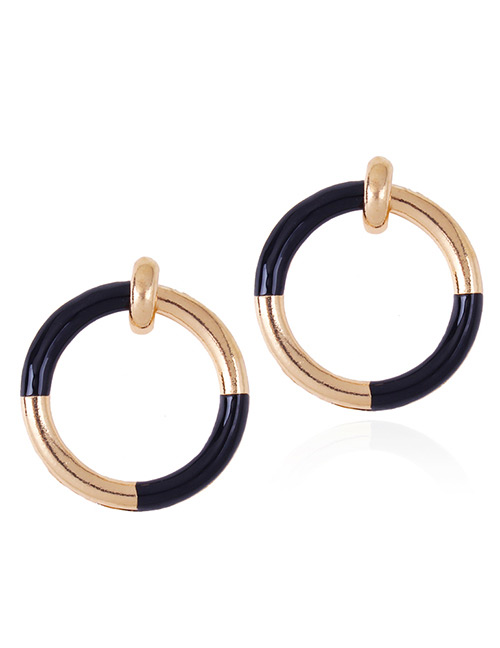 Fashion Black Circular Ring Decorated Simple Earrings