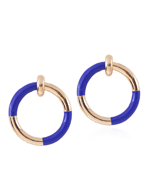 Fashion Sapphire Blue Circular Ring Decorated Simple Earrings