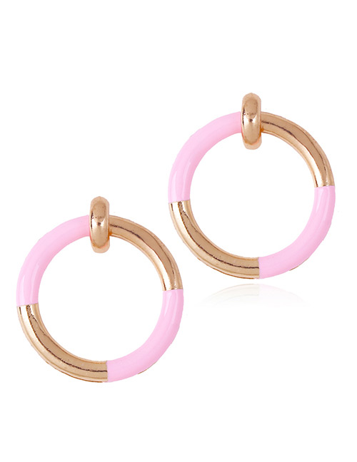 Fashion Pink Circular Ring Decorated Simple Earrings